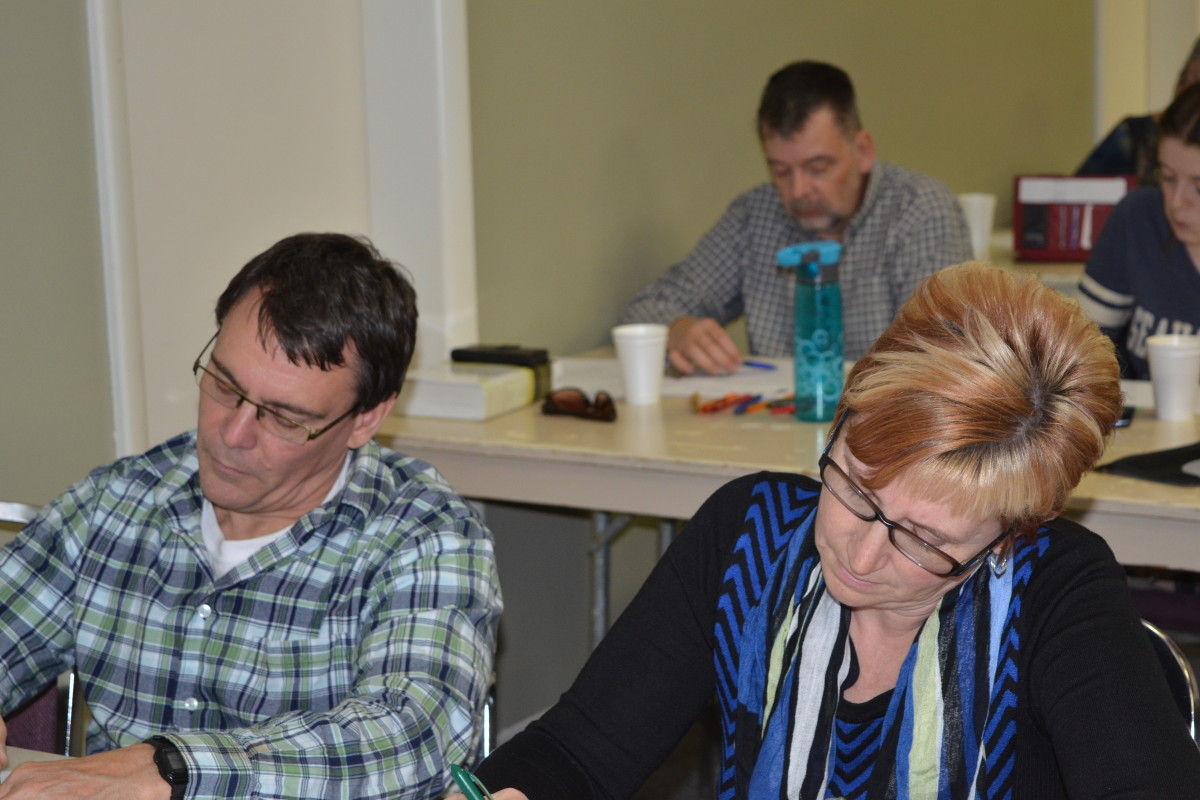 Steinbach workshop participants making the most of their time in God's Word.