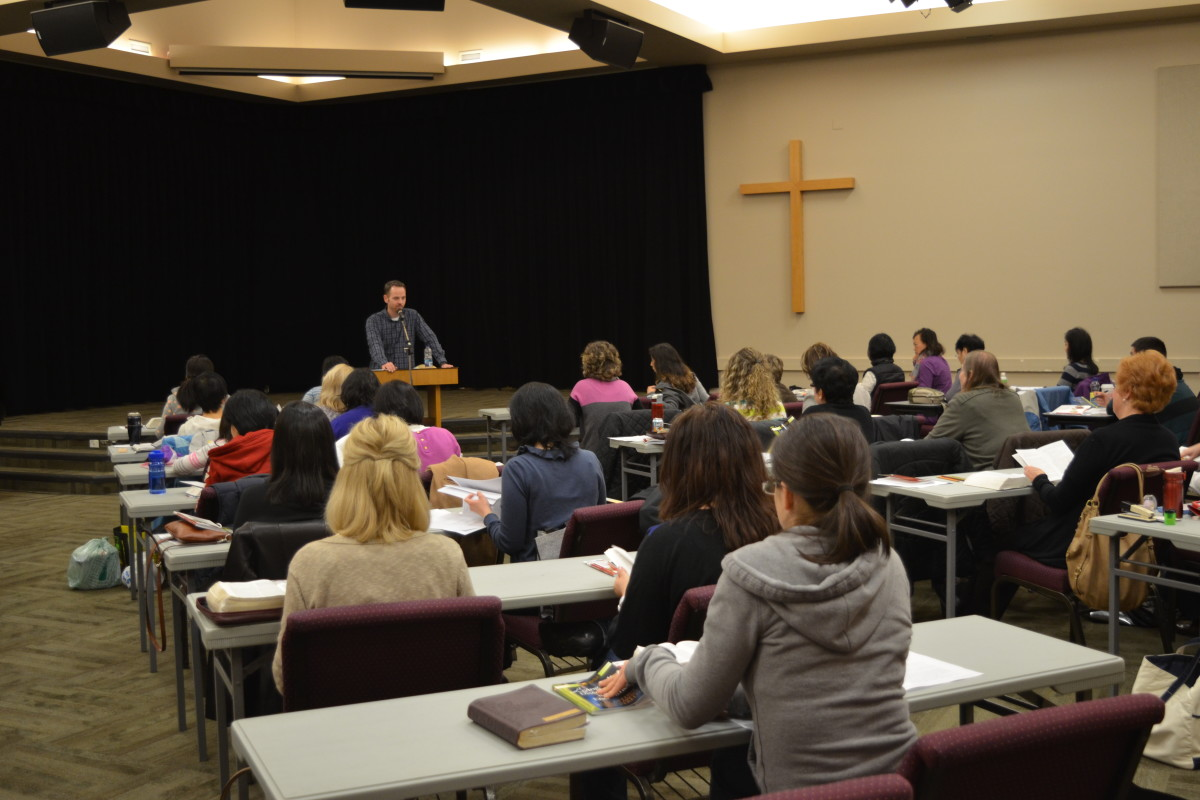 Mark teaches the group in Burnaby